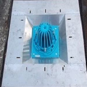 Model SSP roof drain sump pan sumps the Frank Pattern 853n bottom outlet roof drain and side outlet roof drain.