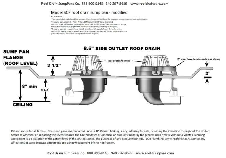 model SCP roof drain sump pan with side outlet roof drains