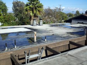 standing rainwater on a flat roof