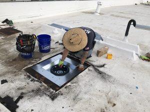 Flat Roof Drain Installation using model LSP roof drain sump pan standard version